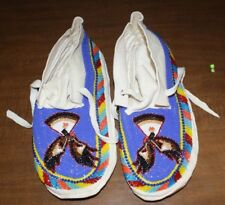 "NEW NATIVE AMERICAN  11 3/8"" LEATHER BEADED MOCCASINS FREE SHIPPING"