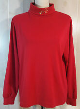 Womans Red Mock Turtleneck Sz L Christmas Design Cabin Creek Holiday Party WS117
