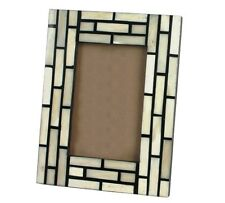 Photo / Picture Frame with Black & White Bone Rectangles Free-Standing Handmade