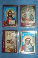 4 orthodox blessed laminated icons Kazan Theotokos, Jesus Christ, Resurrection