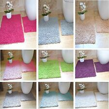 100% Cotton 2 Piece Tumble Twist Bath Mat & Pedestal Mat Bathroom Toilet Set