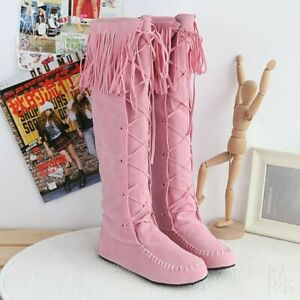 Women Pull On Ribbon Boots Tassels Knee High Knight Moccasin Riding Comfy Boots