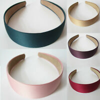 3cm Lady Solid Satin Hair Band Hairband Bow Hoop Headbands Wide Alice Band