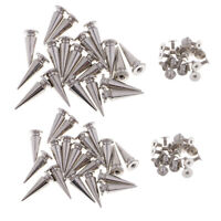 SPIKES CONE SCREW BACK SILVER METAL 12mm x 7mm PUNK RIVET LEATHER BAGS CRAFT HQ