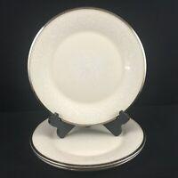 Set of 3 VTG Dinner Plates Lenox Moonspun White Floral Platinum USA