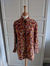 Vintage Platino Loose Fit fuerte Naranja Impresa Estampada con Camisa Blusa UK10 90s