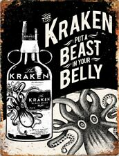 Kraken RUM spirit VINTAGE METAL SIGN TIN RETRO PLAQUE GARAGE BAR PUB MAN CAVE
