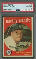 1959 Topps #10 Mickey Mantle - HOF - Yankees - PSA 4 - VG - 46347840 - (SCA)