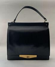 Dolcis Vintage 1960s Black Leather Slim Front Flap Handbag With Satin Lining