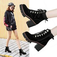 Womens Suede Leather Lace Up Zip Ankle Boots Platform Thicken Martin Boots Shoes