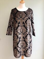 DRESS SIZE 12 VELVET TUNIC STYLE BY SOFT GREY GOLD BAROQUE PRINT ON BLACK BNWT