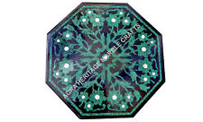 """15"""" Black Marble Bedroom Coffee Table Top Malachite Inlay Decorate Kitchen E757"""