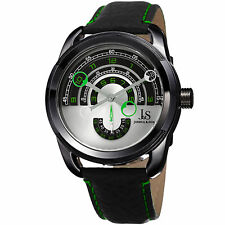 Men's Joshua & Sons JX129GN Quartz Movement Arc-Themed Dial Leather Strap Watch