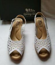 Spring Step Ravella White Leather Open Peep Toe Wedge High Heel Shoe Sanda 8 $70