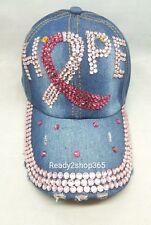 Pink Ribbon Breast Cancer Awareness Hope Cap Baseball Hat Bling Rhinestone New