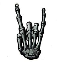 Skeleton Hand Horns Up Metal Sign Patch Iron on Applique Gothic Heavy Black Punk
