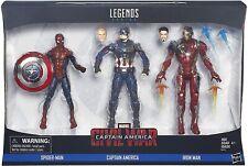 "Marvel Legend Captain America Spider-Man Iron Man 3-Pack 6"" Action Figure / NIB"
