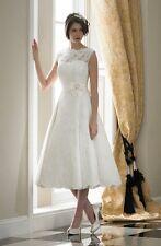 New Tea Length White/Ivory Lace Wedding Dress Short Bridal Gown Size UK 6-18