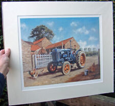 Farm House Note Card New England Scarecrow Print Pen and Ink Matted