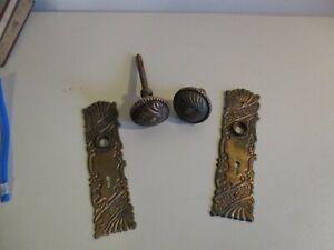 Antique Ornate Brass Doorknobs & Plate Hardware Set Victorian East Lake No Res