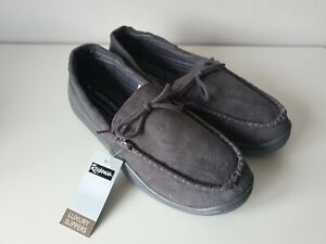 Mens Comfortable Grey Mocassin Slippers -  Size UK 7 / EUR 41