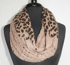 Leopard Print Infinity Scarf Crochet Knit Brown Very Soft NWOT