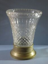 "VINTAGE VERY LARGE AND HEAVY CUT GLASS VASE WITH BRONZE BASE- 10 1/2"" TALL"