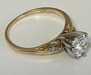 14k Solid Yellow  Gold Women's Engagement Ring