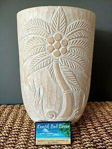 Wooden Palm Pot Whitewash Medium 30cm High 20cm Diameter NEW