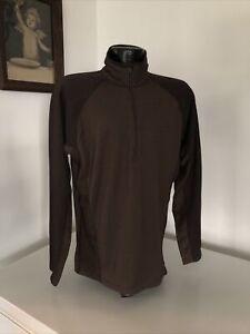 Men's Patagonia 1/4 Zip Athletic Pullover Mock Neck Lightweight Brown XL