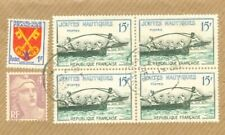 France Topic BOAT 15f Block of 4 used on Registered cover 1958