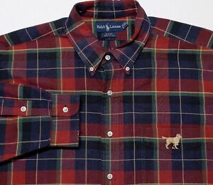 POLO RALPH LAUREN Long Sleeve Button Shirt Dog Labrador Red Blue Plaid XXL 2XL