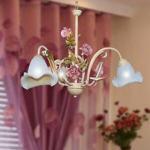 Hanging Chandelier 101.4oz Art Povera Classic Wrought Iron Calla Leaves Roses