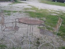 Antique  Vintage Used Heavy Metal Round Table and 2 Folding Chairs