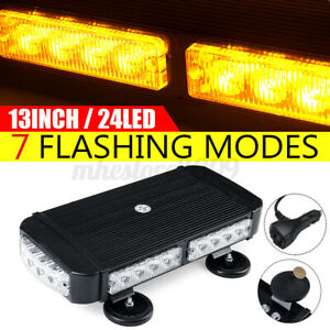 72W LED Strobe Flash Light Bar Amber Yellow Emergency Beacon Warning Truck Tow