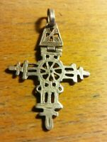 Vintage Fold Cross Pendant Charm Solid 925 Sterling Silver Religious Art RARE ⛪