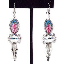 Earring glass / silver-finished steel / brass multicolored NEW Dangle