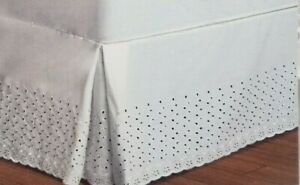 "United Vienna Embroidered Eyelet 21"" Drop Natural Full Bedskirt Bed Skirt NIP"