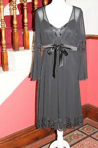 ISPIRATO Dress Black Chiffon Lace Party Prom Occasion Ball BNWT 10