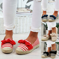 Womens Summer Canvas Bow Slip On Flat Shoes Ladies Comfy Espadrilles Loafers WAN