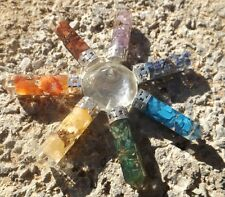 Quartz pyramid with 7 orgone chakra healing points ~ energy generator