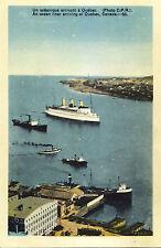 Oceanliner Océanique Arrivant à QUEBEC QC Canada 1930-40s PECO Postcard