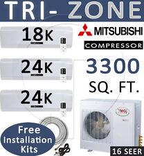 5 TON Tri Zone Ductless Mini Split Air Conditioner Heater, 18000 + 24000 x 2 BTU