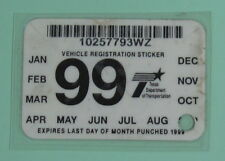 1999 Texas Dept of Motor Vehicle Registration Tax License Decal Sticker Permit
