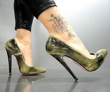 MORI MADE IN ITALY NEW HIGH SKY HEELS PUMPS SCHUHE SHOES LEATHER GREEN VERDE 37