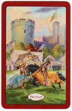 Playing Cards 1 Swap Card Vintage English Named THE JOUST Horses CASTLE Knights