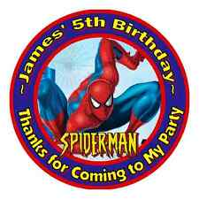 24 SPIDERMAN SPIDER-MAN BIRTHDAY PERSONALIZED THANK YOU PARTY STICKERS FAVORS