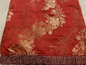 "Valance Red & Gold Floral  with Fringe Asian Theme  84"" X  18""  Beautiful   MINT"