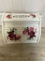 Shabby Chic Farmhouse Bread Box Decoupaged Roses