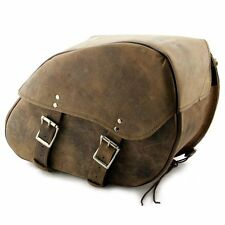 "16"" BROWN Motorcycle REAL LEATHER Waterproof Saddle Bags For Harley Davidson"